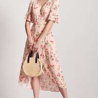 Ruffle Floral Wrap-Front Dress