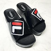 FILA Summer New Trending Women Stylish Thick Sole Sandals Slipper Shoes Black I13595-1