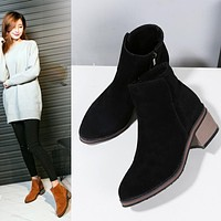 Vintage Flock Chunky Heels Ankle Boots 9300
