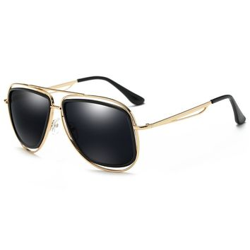 Unique Metal Full Frame Crossbar Embellished Sunglasses