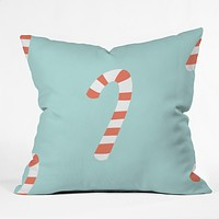 Happee Monkee Merry and Bright Candy Canes Throw Pillow