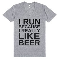I Run Because I Really Like Beer-Unisex Athletic Grey T-Shirt