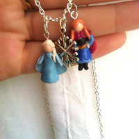 Disney's Frozen Polymer Clay Charm Necklace! Anna and Elsa with Snowflake Charm