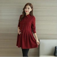 3 Color Formal Office Maternity Dresses for Women Autumn Spring Lapel Corduroy Pregnancy Clothes for Pregnant Women