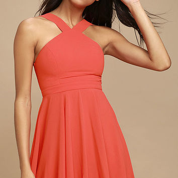 Forevermore Coral Red Skater Dress