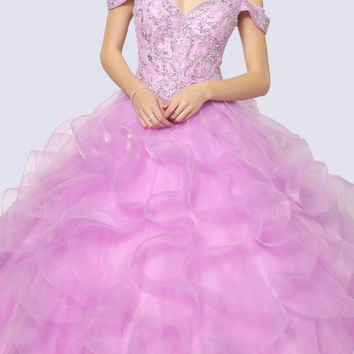 Beaded Embroider Bodice Ruffled Ballgown Lilac Cold Shoulder