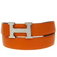 Auth HERMES Constance H Buckle Reversible Belt Leather Silver Orange 100 88BA158
