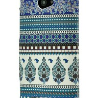 LiViTech(TM) Chevron Fabric Print Design Rubber Coating Hard Case Cover for HTC Windows Phone 8X (Blue)