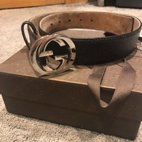 Gucci Black Leather  Belt With G Buckle