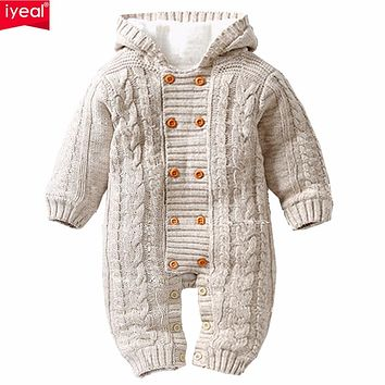 IYEAL Thick Warm Infant Baby Rompers Winter Clothes born Baby Boy Girl Knitted Sweater Jumpsuit Hooded Kid Toddler Outerwear