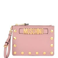 Moschino Studded Faux-Leather Wristlet Clutch Bag, Pink