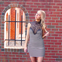 Striped Dress with Black Lace Neckline & Open Tie Back
