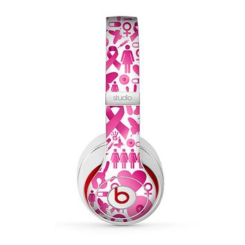 The Pink Collage Breast Cancer Awareness Skin for the Beats by Dre Studio (2013+ Version) Headphones