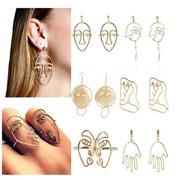 Abstract Picasso Face & Body Art Earrings & Rings Set