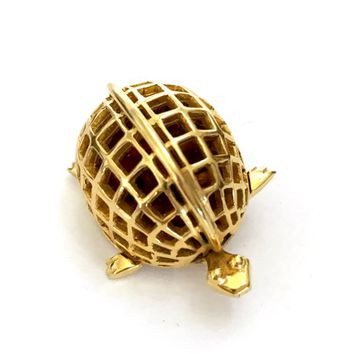 De Nicola Puffy Turtle Brooch, Amber Lucite Bead Shell in Polished Gold Tone Metal Cage, Very Dimensional, Signed, Vintage Gift for Her