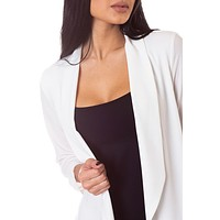 Lightweight Textured Draped front Blazer