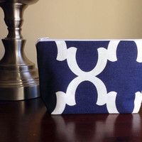 FREE SHIPPING Make up, cosmetic bag, zipper pouch, bridesmaid clutch - navy geometric print and zig zag