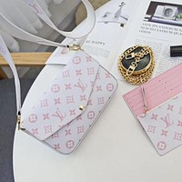 LV Louis Vuitton High Quality Canvas Pink Printed Envelope Bag Three-piece Set