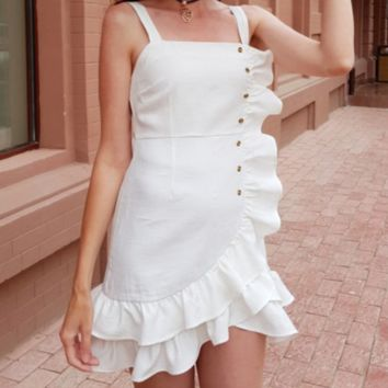 New women's dress pure white shoulder strap street tide irregular backless skirt