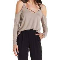 phinx Cmb Strappy Cold Shoulder Top by Charlotte Russe