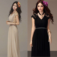 Bridesmaid Ladies Long Cocktail Evening Party Lace Vintage Chiffon Maxi Dress L
