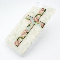 CLEAR Snap On Case IPHONE 5 Plastic Cover - CROSS POLKA DOT PINK ROSE flower love floral blossom vintage hipster