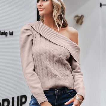 Simplee Asymmetrical Neck Mixed Knit Sweater