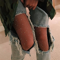 Summer Hollow Out Women Tights Sexy Rhinestone Mesh Fishnet Pantyhose Slim Fish Net Tight Diamond Stockings Party Club Hosiery