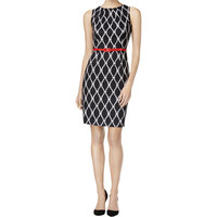Connected Apparel Womens Printed Sleeveless Wear to Work Dress