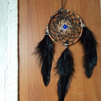 Small Dream Catcher for Car Rear View Mirror with Tiger's Eye and Glass // Hippie Boho Home Decor for Apartment or Dorm Room