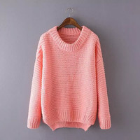 Long-Sleeve Knitted Pullover Shirt