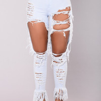 Katrina Distress Jeans - White/Blue