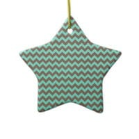 Chevron Mint Green And Brown Coffee Christmas Tree Ornament