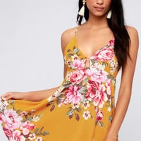 Lily Pond Mustard Yellow Floral Print Swing Dress
