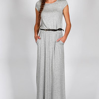 Solid Gray Knit Maxi Dress With Belt