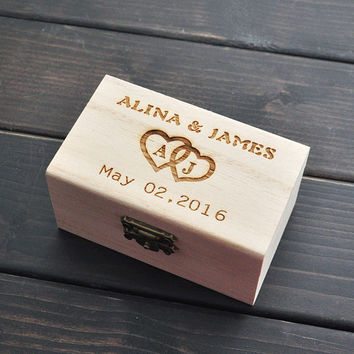 Custom Wood Wedding Ring Barrier Box // Wood Rustic Personalized Bride and Groom Twine