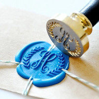 Personalized Wreath Monogram Custom Initial Gold Plated Wax Seal Stamp x 1