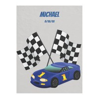 Blue Race Car, Checkered Flag, Personalized, Fleece Blanket
