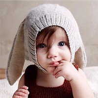 Rabbit Ears Baby Hats Soft Warm Hats Cute Toddler Kids Knitted Woolen Bunny Beanie Caps for Unisex Baby 0-3Y born Photo Props
