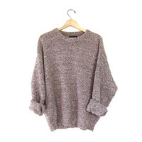 Vintage marled WOOL sweater. Speckled knit boyfriend pullover. Purple white crewneck Sweater. Slouchy 90s Fall jumper. Men's XL