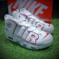 Best Online Sale Nike Air More Uptempo OG Retro Sport Baskerball Shoes White Red Sneaker