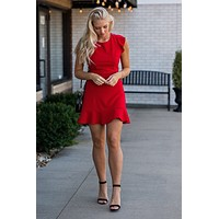 Love Potion Heavy Knit Flounce Hem Dress : Red