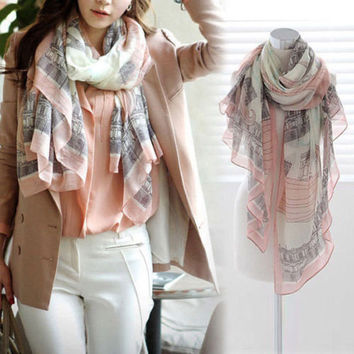 168*78cm High Quality Long Print Cotton Polyester Scarf