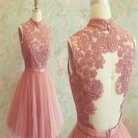 Custom Made A Line High Neck Short Lace Prom Dresses, Short Lace Graduation/ Homecoming/Bridesmaid Dress