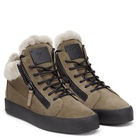 Giuseppe Zanotti Gz Kriss Made In A Favourite Mid-top Shape, These Beige Suede Sneakers Are Trimmed With Fur For A Winter-ready Finish