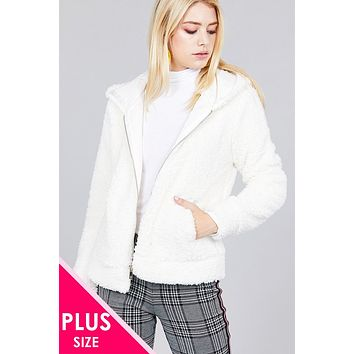 Plus Size Zip Up Faux Fur Jacket with Hood-Off White