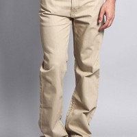 Men's Straight Fit Colored Denim Jeans (Khaki)