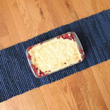 Navy Blue Table Runner Modern Country Rustic Farmhouse Cottage Chic Artisan Knitted Upcycled TShirts 12x36 --US Shipping Included