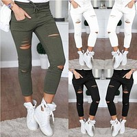 New Women Skinny Ripped Knee Hole Bandage Jeans Solid Ciolor Fahsion Pants High Waist Stretch Slim Pencil Trouser