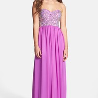 Xscape Embellished Bodice Strapless Chiffon Gown